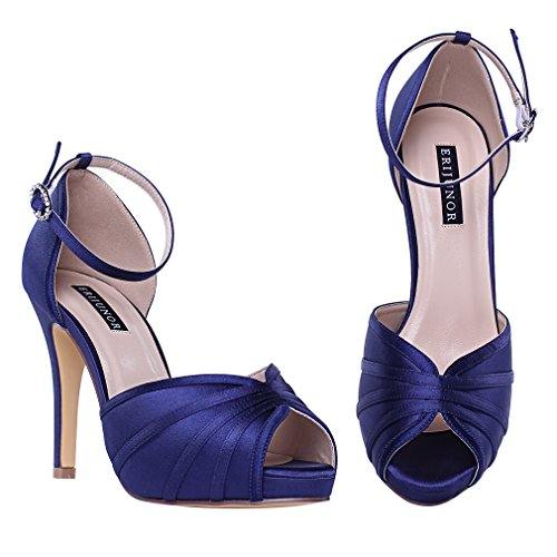 Ankle Women's High Strap Sandals blue Wedding Prom Party Shoes Satin Heel Evening ERIJUNOR Navy afRdd