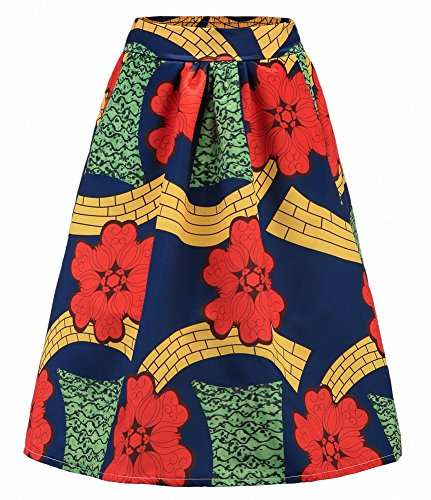 Afibi African Print Skirts For Women Boho Plus Size Flare Pleated Skirts (XXX-Large, Picture 4)