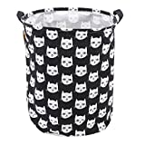 LALANG Kids Laundry Basket Toy Storage Bin Fabric Nursery Hamper Large Laundry with Handle,Collapsible & Convenient (White cat Head)