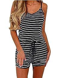 a7baa65da02 Women Summer Casual Spaghetti Strap Adjustable Waist Drawstring Short  Jumpsuit Solid Cami Romper for Girl