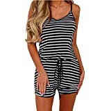 Dreamskull Women Summer Casual Spaghetti Strap Adjustable Waist Drawstring Short Jumpsuit Solid Cami Romper for Girl (XL, Black Stripe)