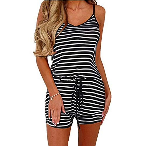 - Dreamskull Women Summer Casual Spaghetti Strap Adjustable Waist Drawstring Short Jumpsuit Solid Cami Romper for Girl (XL, Black Stripe)