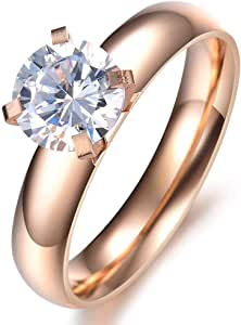 18K Rose Gold Plated 1 Carat Simulated Diamond Rings for Women Size US6