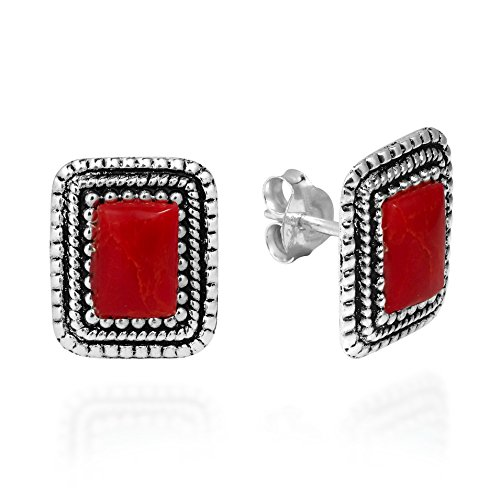 - Vintage Inspiration Rectangle Frame Reconstructed Red Coral .925 Sterling Silver Post Earrings