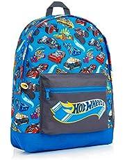 Hot Wheels Skolväska, officiell barnryggsäck med biltryck, stor blå ryggsäck för skola sport resor, tillbaka till skolmaterial för barn, gåvor för pojkar flickor tonåringar