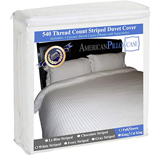 American Pillowcase 100% Egyptian Cotton Luxury Striped 540 Thread Count Duvet Cover with Wrinkle Guard - Full/Queen, White