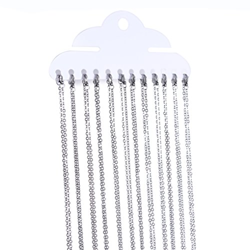 Romance Jewelry 18 Inch Stainless Steel Link Cable Chain Necklaces for Jewelry Making, 12 Pieces (Wholesale Stainless Chain Steel)