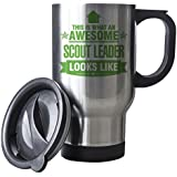 GREEN This is what an AWESOME Scout Leader Looks like SILVER Mug - Gift idea