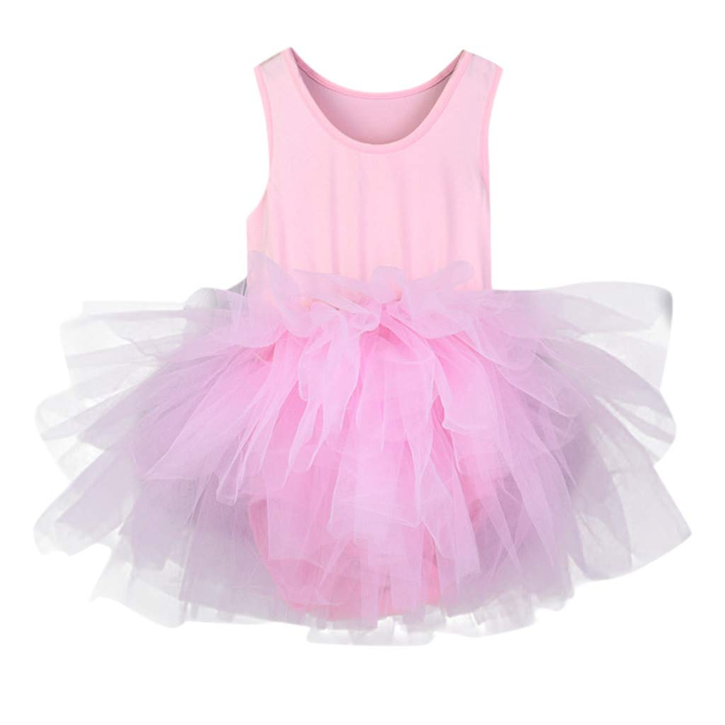 Elegant Sleeveless Ballet Dress For Kids Child Girl Solid Color Gymastics Dance Tutu Tulle Mini Dress Bodysuit Dancewear Training Dress (S, Pink)