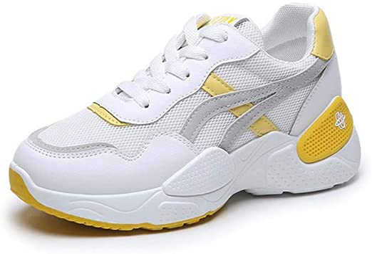 Zapatillas de deporte casuales para mujeres, zapatillas ligeras y transpirables para correr Zapatillas de entrenamiento para caminatas al aire libre Zapatillas de gimnasia para caminar,Amarillo,38: Amazon.es: Jardín