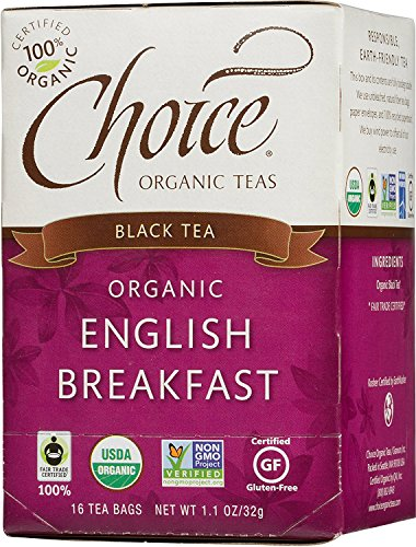 Choice Organic Teas Black Tea, English Breakfast, 16 Count, Pack of 6 - Black India Organic Tea