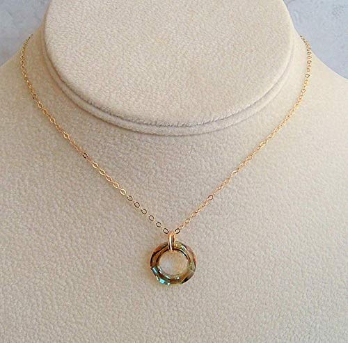Green Cosmic Round Ring Pendant 16 Inch Gold Filled Necklace Made With Swarovski Crystal Gift Idea
