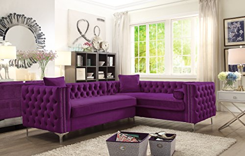 Iconic Home FSA2850-AN Mozart Right Hand Facing Sectional Sofa L Shape Velvet Button Tufted with Silver Nail Head Trim Silvertone Metal Y-Leg with 3 Accent Pillows Modern Contemporary Plum ()