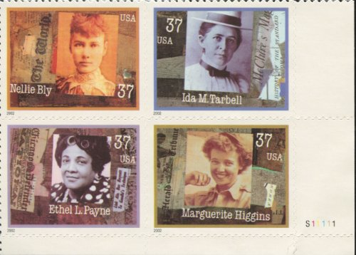 Women In Journalism 4 x 37¢ US Postage Stamps Scott #3668a (Around The World With Nellie Bly Game)