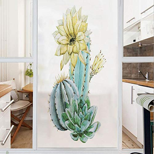 Decorative Window Film,No Glue Frosted Privacy Film,Stained Glass Door Film,Vector Image with Watercolor Cactus with Spikes and Alluring Flowers Print,for Home & Office,23.6In. by 78.7In Blue and Whit
