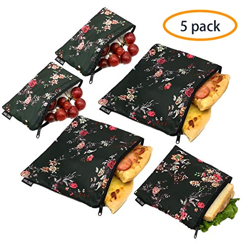 - Reusable Sandwich Bags Snack Bags - Set of 5 Pack, Dual Layer Lunch Bags with Zipper, Dishwasher Safe, Eco Friendly Food Wraps, BPA-Free. (Flower)