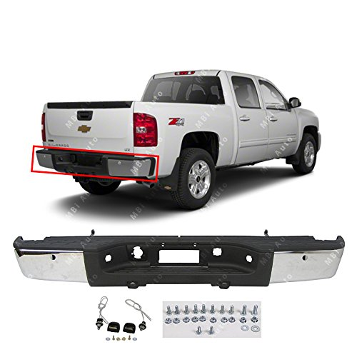 (MBI AUTO - Chrome Steel, Rear Bumper Assembly for 2007-2013 Chevy Silverado & GMC Sierra 1500 Pickup, GM1103148)