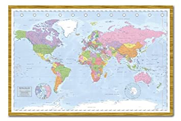 Political world map pinboard cork board with pins framed in oak political world map pinboard cork board with pins framed in oak wood includes pins gumiabroncs Image collections