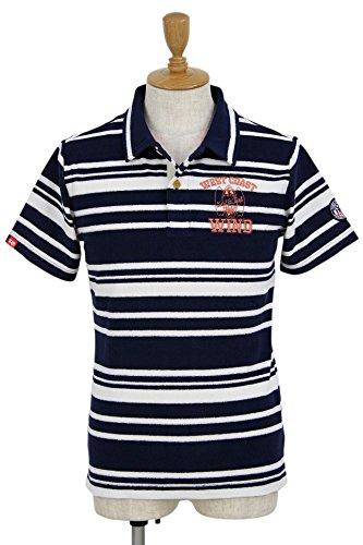 ロサーセン ゴルフウェア ポロシャツ 半袖 メンズ ボーダーパイルポロ 044-27340 98ネイビー 48(M)