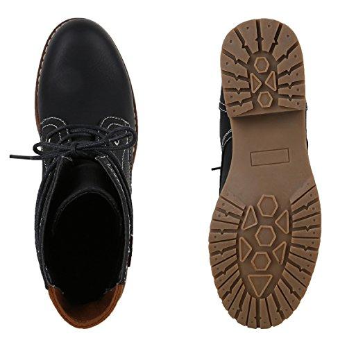 Stiefelparadies Damen Schnürstiefeletten Leder-Optik Stiefeletten Blockabsatz Boots Glitzer Schuhe Schnürschuhe Übergrößen Flandell Schwarz
