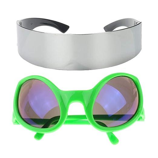 eb738c45fd Amazon.com  Fenteer Pack of 2pcs Fun Green Metallic Silver ...