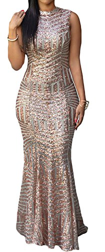 made2envy Glam Sequins Keyhole Back Sleeveless Maxi Party Gown (M, Nude) LC60881MN