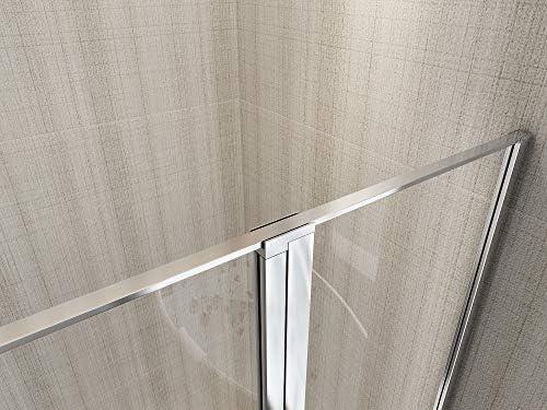 Mampara de ducha con cristal fijo y puerta batiente Laneri 117 x 120 cm antical