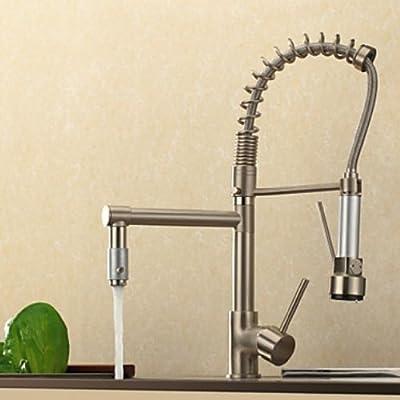 Rozinsanitary Brushed Nickel Brass Kitchen Sink Faucet Single Handle Mixer Tap