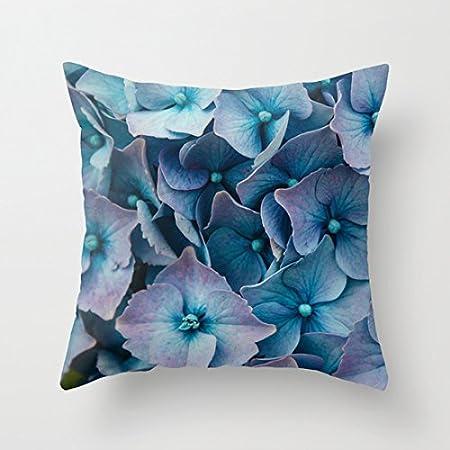 Azul hortensias fundas de almohada decorativo lienzo manta ...