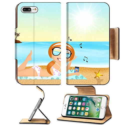 [MSD Premium Apple iPhone 7 Plus Flip Pu Leather Wallet Case girl with headphone music on the beach iPhone7 Plus Image ID] (Ms Swimming Costume)