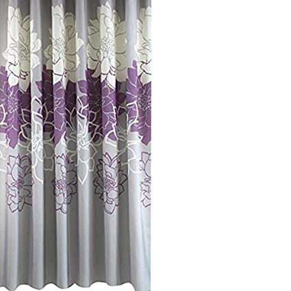 Amazon Gray Background And Flowers PatternMildew Proof Waterproof Washable Printed Polyester Fabric Shower Curtain For Bathroom 72inch72inch