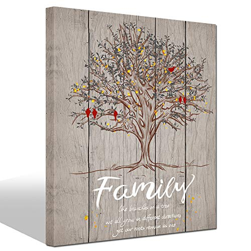 LevvArts - Quote Wall Art Canvas Family Tree Lovebirds Painting Artwork Wedding Modern Home Livinr Room Bedroom Unique Wall Decor (Grey)