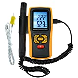 LCD Digital Humidity and Temperature Meter Gauge 2 In 1 Measurement Thermometer with Type K Thermocouple Sensor Probe, 10% RH to 98% RH, -10~50°C (14~122°F), -30~1000°C (-22~1832°F) K-type