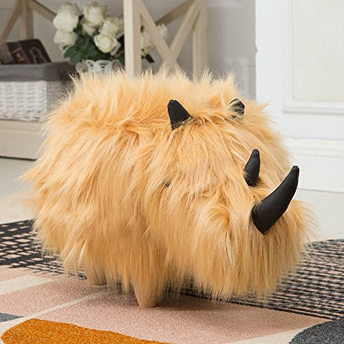 ✿Dreamer Creative Solid wood Footstool Plush Ottoman Change shoes Decorative furniture Rhino stool-yellow by ✿Dreamer (Image #3)