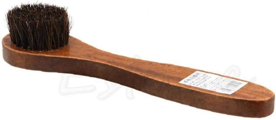 AMOYER Manija 1pcs Largo de Madera con cerdas de Caballo Cepillo de Pelo de Zapatos de Arranque Polaco Shine Limpieza Dauber