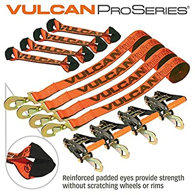 VULCAN 8-Point Roll Back Vehicle Tie Down Kit with Snap Hooks On Both Ends, Set of 4 - PROSeries: Automotive