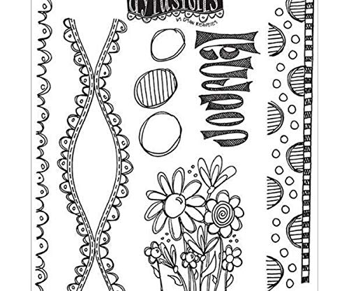 Lace and Flowers - Rubber Cling Stamps Dylusions (6ks), Ranger, Scrapbooking Paper