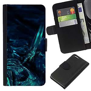 WINCASE Cuadro Funda Voltear Cuero Ranura Tarjetas TPU Carcasas Protectora Cover Case Para Apple Iphone 5C - bajo el agua arte oscuro buceo nocturno