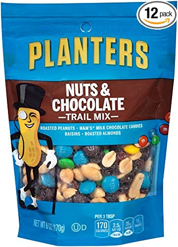 Planters Trail Mix, Nuts and Chocolate, 6-Ounce Bags (Pack of 12)
