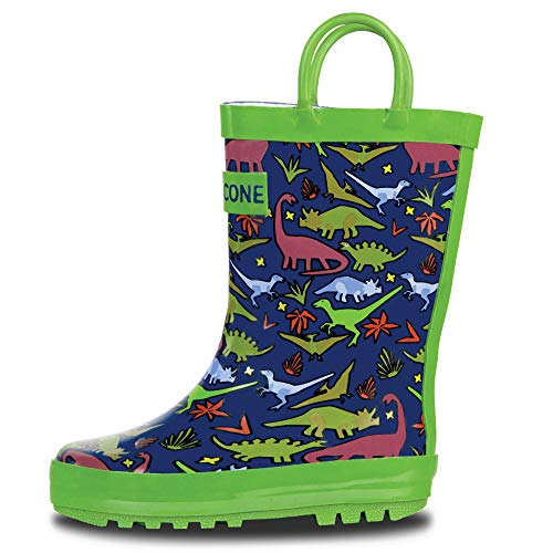LONECONE Rain Boots with Easy-On Handles in Fun Patterns for Toddlers and Kids, Jurassic Jungle, 2 Little Kid ()