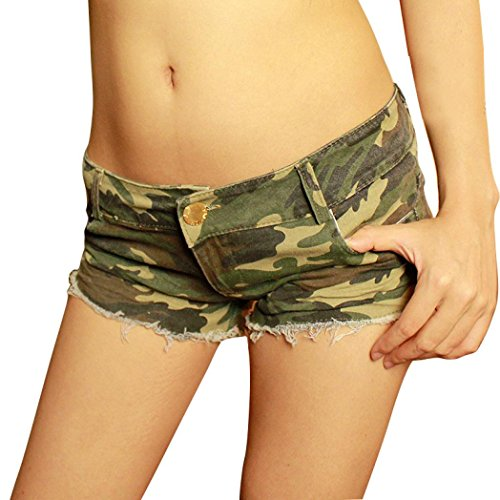 GoodLock Womens Sexy Camouflage Jeans Short Shorts Hot Denim Low Waist Pants (Camouflage, 28/S) ()