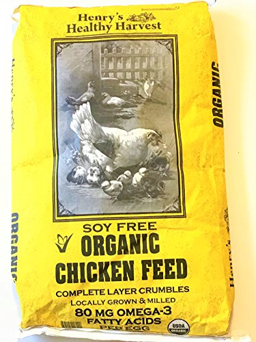 - Henry's Healthy Harvest Organic Chicken Feed - Organic, SOY FREE, Non-GMO Chicken Feed Layer Crumbles and Meal with Omega 3s for Mature Laying Hens - 25lb Bag