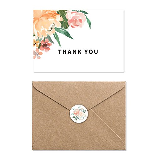 Modern Floral Thank You Cards - Blank on the Inside - Includes 40 Cards, Kraft Paper Envelopes and Stickers - 4.5 x 6 Inches to fit photo(s)