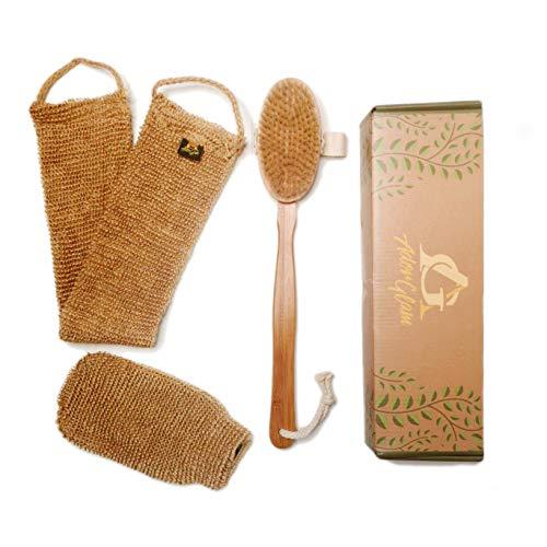 AdorGlam Dry Skin Body Brush Set w/Hemp Scrubbers - Natural Bristle - Promote Lymphatic Draining, Stimulate Blood Flow - Skincare, Cellulite Treatment & Exfoliator Brushing Kit - Long Handle ()