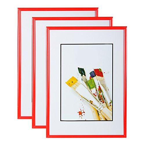 Juego de 3 marcos de fotos 10 x 15 cm rojo marco de fotos resina ...