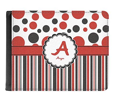 Cuero Y Doble Billetera De Pliegue Verdadera Puntos Rayas Negro personalizado Rojo De Hombres Y Los cqnwOY0qd