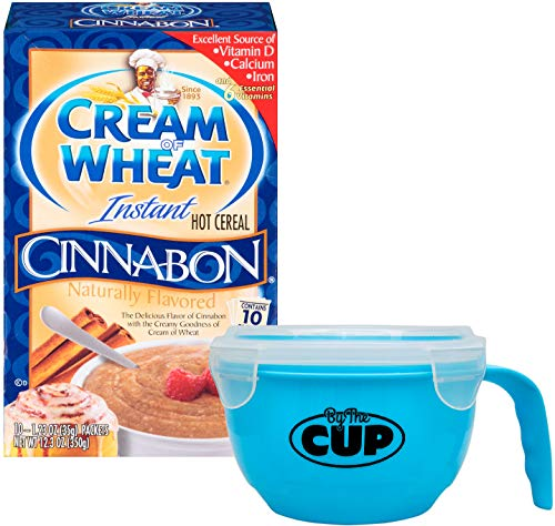 10 Pack Cream - Cream of Wheat Cinnabon Instant Hot Cereal Packets, 10 - 1.23 Ounce Single Serving Packets with By The Cup Cereal Bowl