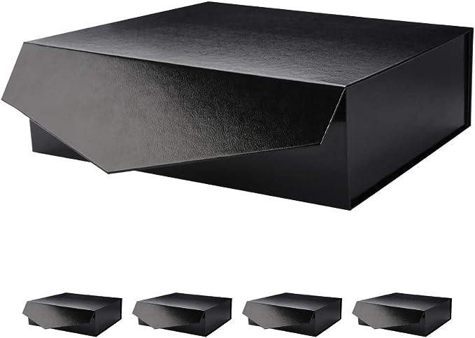 Caja de regalo con cierre magnético, caja de regalo plegable, caja de almacenamiento, caja decorativa de almacenamiento con cierre magnético (negro/blanco, paquete de 5 por paquete).: Amazon.es: Hogar