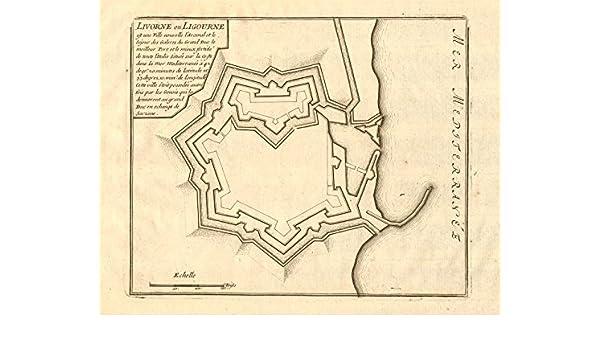 Livorne Ou Ligourne Livorno Leghorn Town City Plan Italy