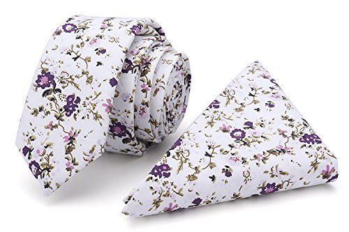 Kingdom Secret 100% Cotton Handmade Skinny Floral Tie with Pocket Square Gift Set Men's Neat Necktie (Pink and White)